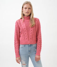 Aeropostale Cable-Knit Mock-Neck Sweater