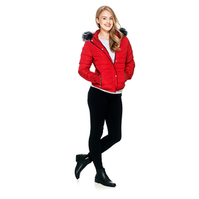 Juniors Snobbish Polyfill Jacket with Fur Trim on