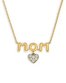 Bloomingdale's - Diamond Heart Mom Pendant Necklac
