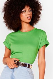 Nasty Gal Green Face the Facts Relaxed Tee