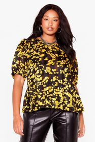 Nasty Gal Yellow Smudge Be Love Plus Tie Back Top