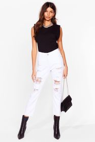 Nasty Gal White She's Trouble Distressed Mom Jeans
