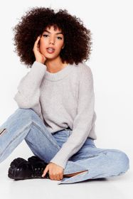 Nasty Gal Light grey Knit the Big Time Crew Neck S
