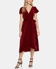 Velvet Flutter-Sleeve Midi Dress