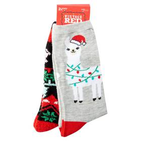 Womens Vintage Red Llama Crew & Cozy Sock Set