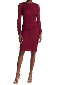 Vince Camuto Lace Long Sleeve Ruched Sheath Dress