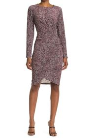 T Tahari Long Sleeve Draped Velvet Dress