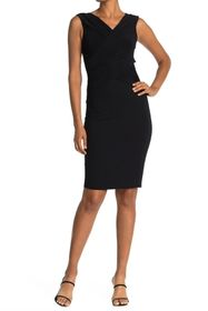 T Tahari Short Sleeve V-Neck Gathered Front Wrap D