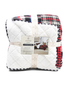 ASPEN Patchwork Flannel With Sherpa Reverse Quilt