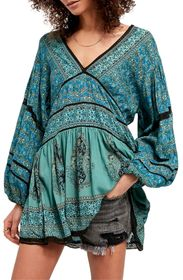 Free People Luna Scarf Print Tunic Blouse