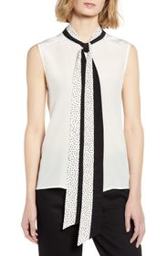 7 For All Mankind Contrast Neck Tie Sleeveless Top