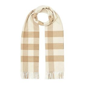 Burberry Burberry Check Cashmere Scarf in White