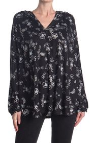 Jessica Simpson Floral Hooded V-Neck Lounge Poncho