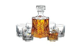 7-Piece Italian Crafted Glass Decanter & Whisky Gl