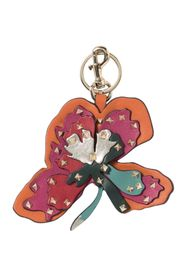 Valentino Leather Studded Flower Key Chain