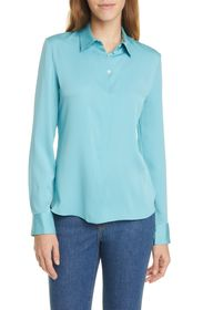 Theory Classic Silk Blend Button Front Blouse