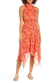 Sam Edelman Smocked Handkerchief Hem Midi Dress