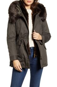 French Connection Faux Fur Trimmed Hooded Jacket