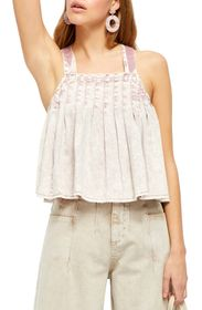 Free People Marina Denim Babydoll Crop Top