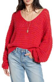 Free People Coconut Knit V-Neck Sweater