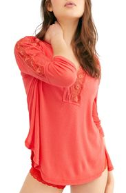 Free People Lola Lace Trim V-Neck Top