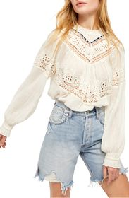 Free People Abigail Victorian Eyelet Lace Blouse