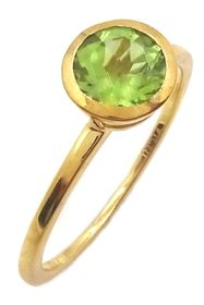Savvy Cie 18K Gold Vermeil Peridot Solitaire Ring