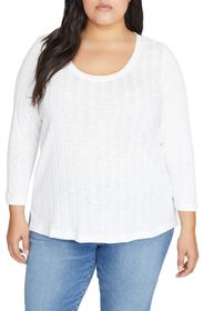 Sanctuary Ruby 3/4 Length Sleeve Ribbed Knit Top