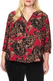 NYDJ Pintuck Pleat Crepe Blouse