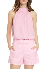 alice + olivia Kinsley Gathered Silk Halter Top