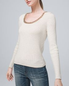 Chain-Detail Ribbed Sweater