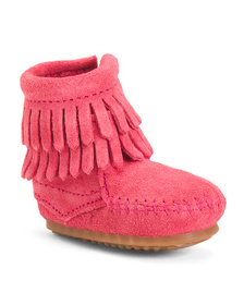 MINNETONKA Double Fringe Suede Booties (Infant)