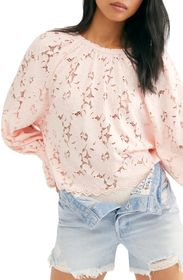 Free People Olivia Balloon Sleeve Lace Blouse