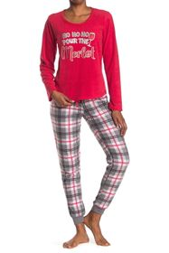 PJ Couture Printed Top & Pants 2-Piece Pajama Set