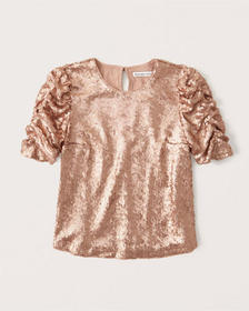 Sequin Tee, ROSE GOLD WITH EMBELLISHMENT