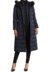 Tahari Faux Fur Trim Hood Long Puffer Jacket