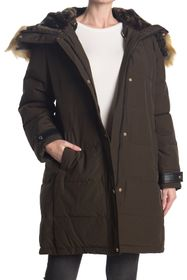 Nine West Faux Fur Trim Hooded Parka