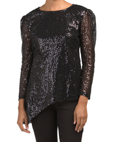 Asymmetric Hem Sequin Top