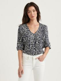 Lucky Brand Taylor Ruffle Peasant Top