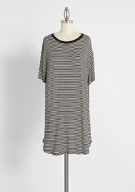 Cinzia The Long Weekend Striped T-Shirt Dress Blac