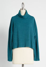 ModCloth Don't You Forget About Me Funnel Neck Top