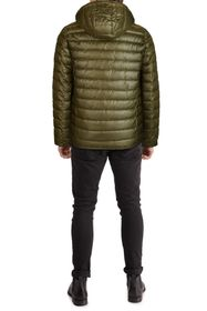 KENNETH COLE Hooded Midweight Quilted Zip Jacket