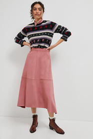 Anthropologie Jules Sueded Maxi Skirt
