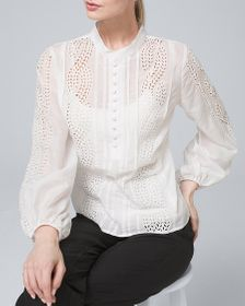 PETITE EMBROIDERED SILK/COTTON VOILE BLOUSE
