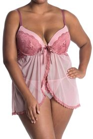 Jessica Simpson Galloon Lace Babydoll Chemise & Th