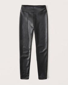 Vegan Leather Leggings, BLACK