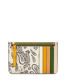 Tory Burch - Perry Printed Leather Top Zip Card Ca