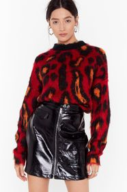 Nasty Gal Red Brush Up Nice Knit Leopard Sweater
