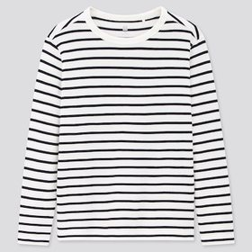 Kids Striped Crew Neck Long-Sleeve T-Shirt, Off Wh