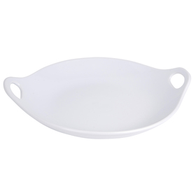 Home Essentials 12in. White Round Open Handle Plat